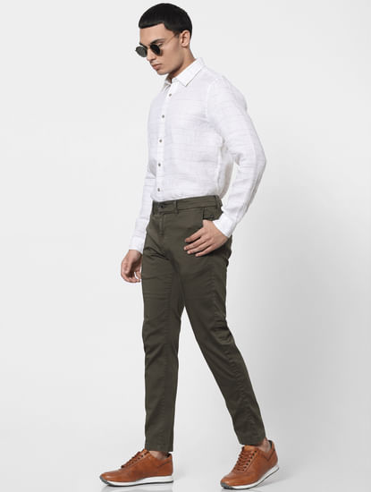 Olive Green Mid Rise Chino Pants