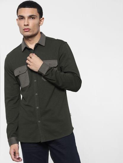 Grey Knit Full Sleeves Shirt