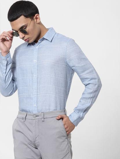 Light Blue Striped Full Sleeves Linen Shirt