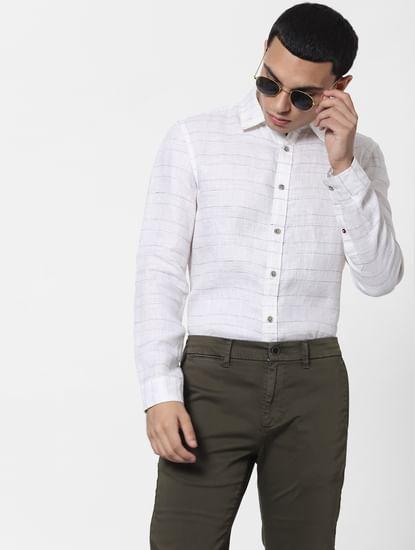 White Striped Full Sleeves Linen Shirt
