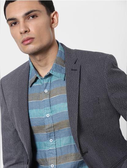 Blue Striped Full Sleeves Linen Shirt