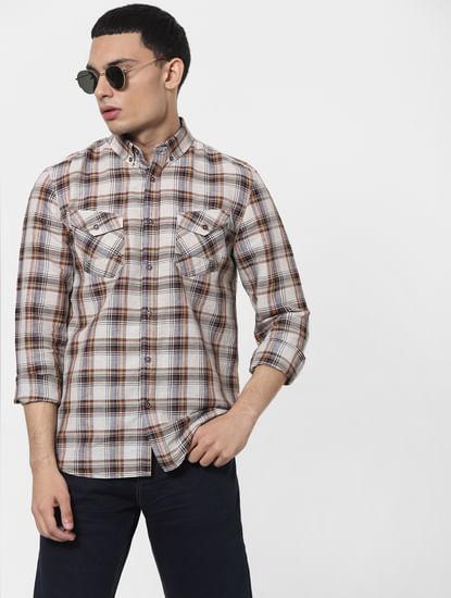 Beige Check Full Sleeves Linen Shirt