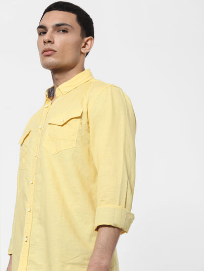 Yellow Full Sleeves Washed Linen Shirt