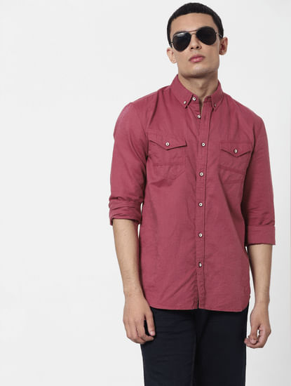 Red Full Sleeves Washed Linen Shirt