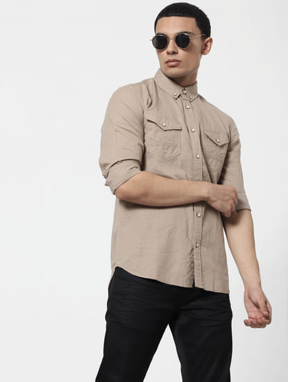 Beige Full Sleeves Washed Linen Shirt