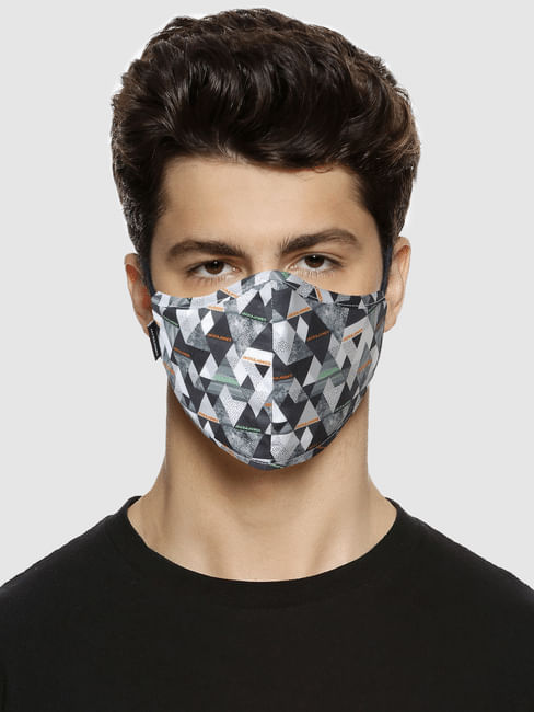 Grey Abstract Print Mask with 3 Changeable PM 2.5 Filter