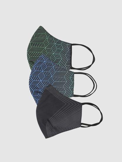 Pack of 3 Black Geometric Print B95 3 PLY Mask