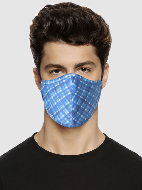 Blue Check Print Mask with 3 Changeable PM 2.5 Filter