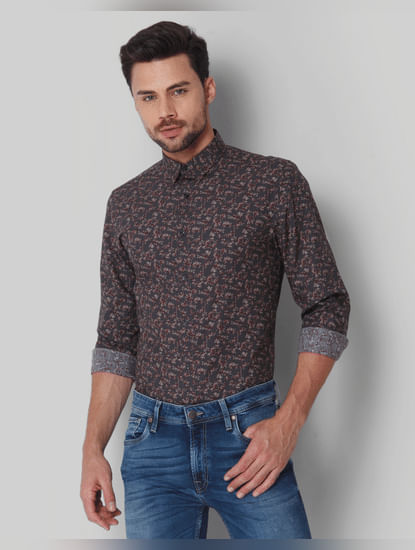 Grey All Over Print Full Sleeves Shirt