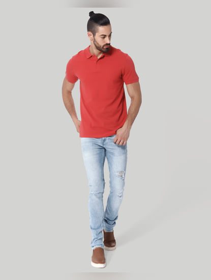 Red Polo Neck T-Shirt