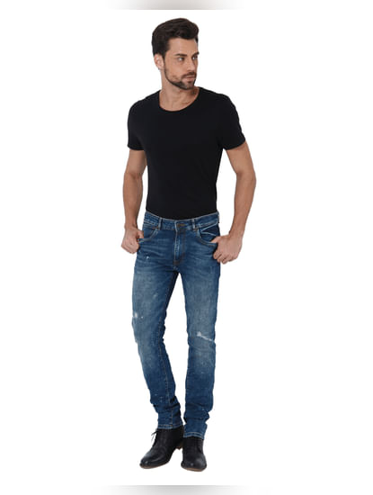 Blue Ripped Ben Skinny Fit Jeans