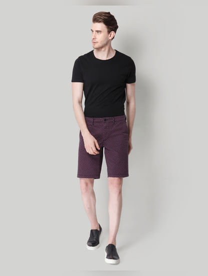 Purple All Over Print Chino Shorts