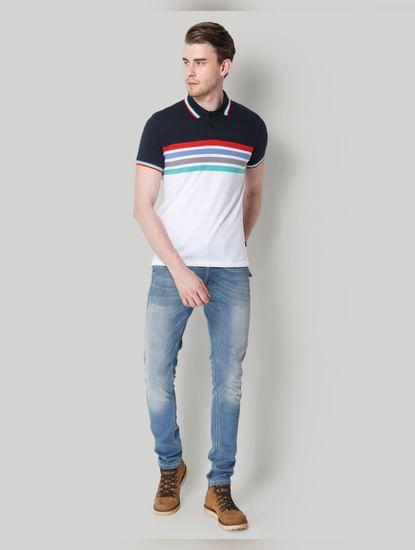 Navy Blue Colourblocked Polo Neck  T-Shirt