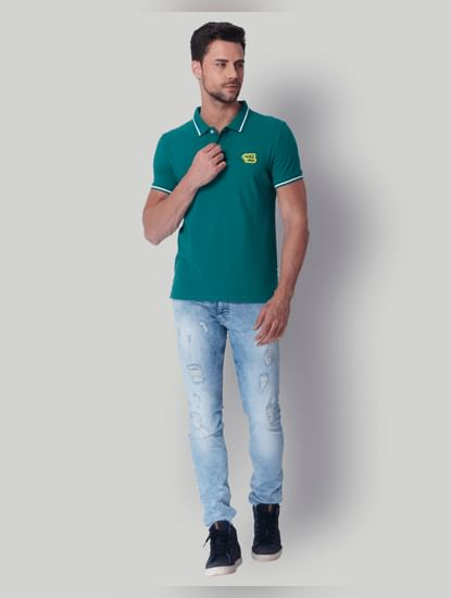 Green Contrast Tipping Polo Neck T-Shirt