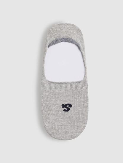 Light Grey Logo Print No Show Socks