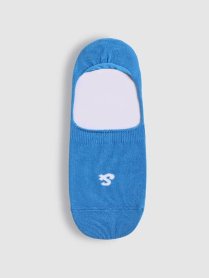 Blue Logo Print No Show Socks
