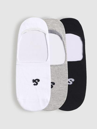 Pack Of Three No Show Socks - White, Grey, Black