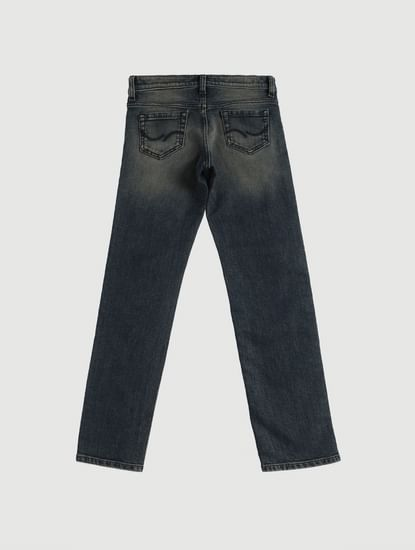 Junior Blue Low Rise Faded Tim Slim Fit Jeans