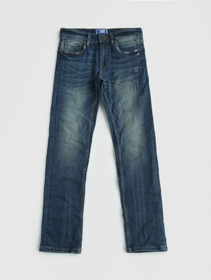 Junior Blue Low Rise Faded Ben Slim Jeans