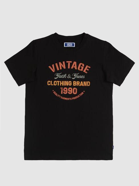 Boys Black Logo Print Crew Neck T-Shirt