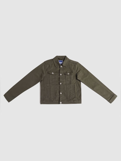 Junior Dark Green Denim Jacket