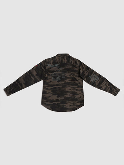 Junior Green Camo Print Shirt