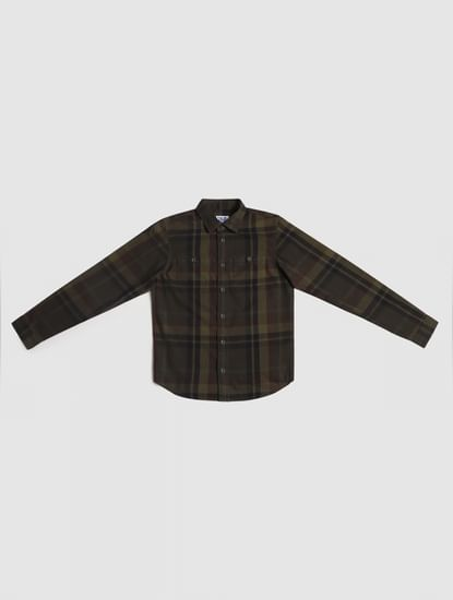 Junior Green Check Full Sleeves Shirt