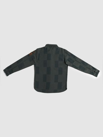 Junior Green Printed Full Sleeves Shirt
