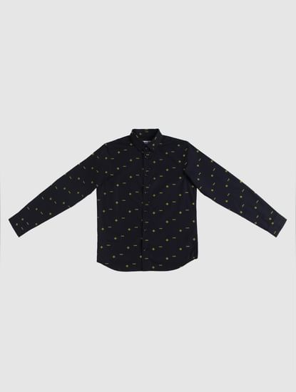Junior Navy Blue All Over Print Full Sleeves Shirt