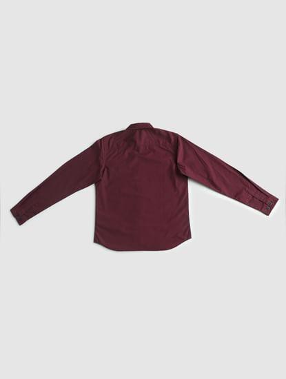 Boys Burgundy Full Sleeves Shirt