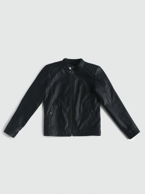 Junior Black Pu Biker Jacket