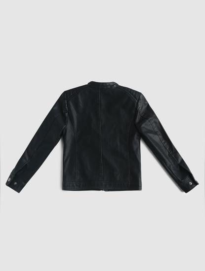 Junior Black Pu Biker Jacket