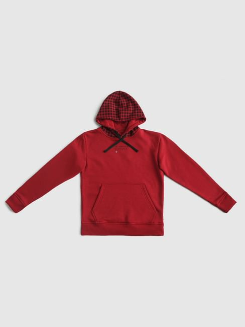 Junior Red Check Hood Sweatshirt