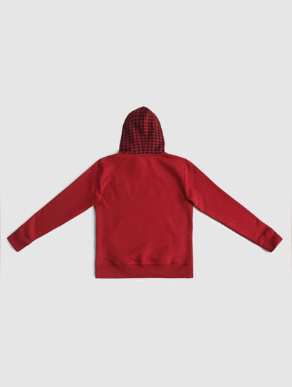 Junior Red Check Hood Sweatshirt