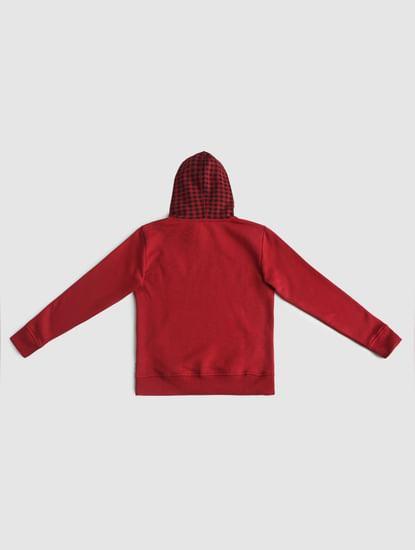 Boys Red Check Hood Sweatshirt