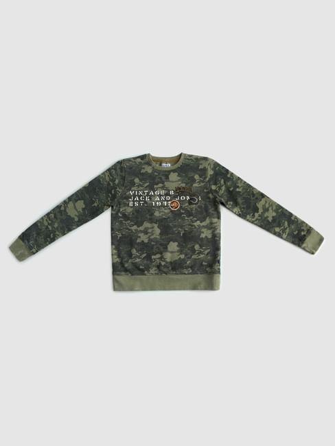 Boys Green Camo Print Sweatshirt