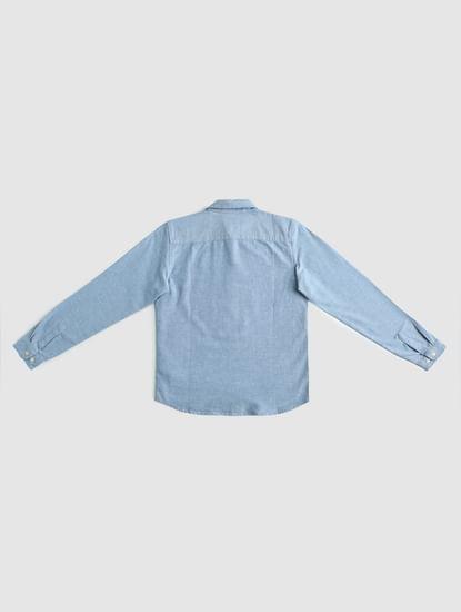 Junior Blue Patch Print Full Sleeves Shirt
