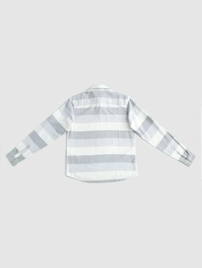Junior White Striped Full Sleeves Shirt