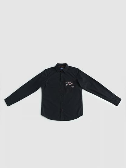 Junior Black Text Print Full Sleeves Shirt