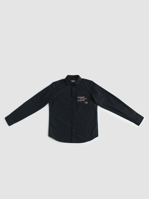 Junior Black Text Print Full Sleeves Shirt