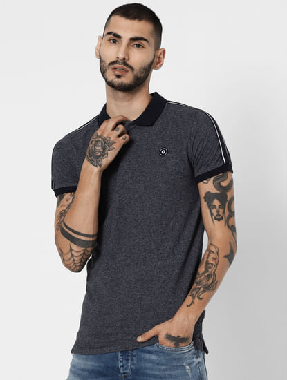 Navy Blue Tape Detail Polo T-Shirt