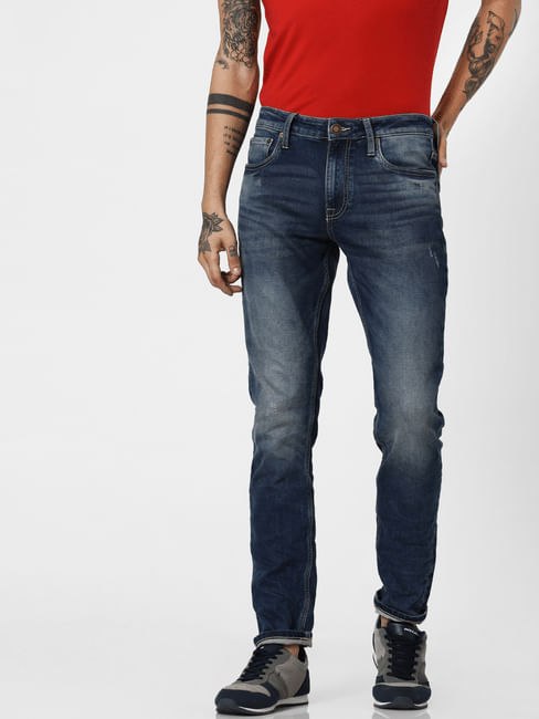 Blue Low Rise Indigo Knit Ben Skinny Jeans