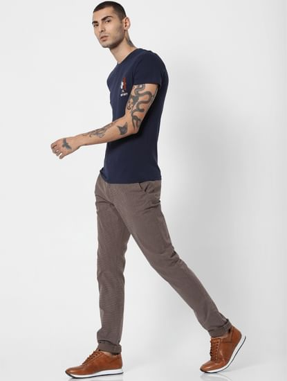Brown Printed Slim Fit Pants