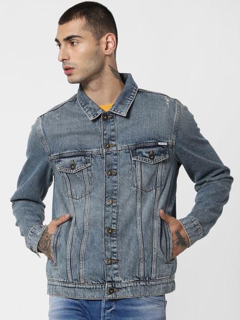 Blue Heavily Washed Denim Jacket