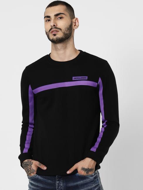 Black Contrast Tape Detail Sweatshirt