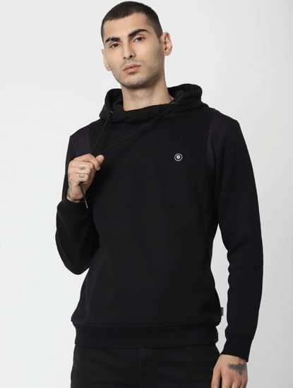 Black Mesh Detail Hooded Sweatshirt