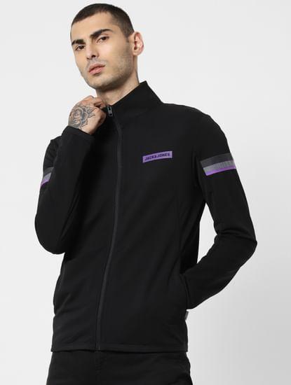 Black Tape Detail Zip Up Sweatshirt