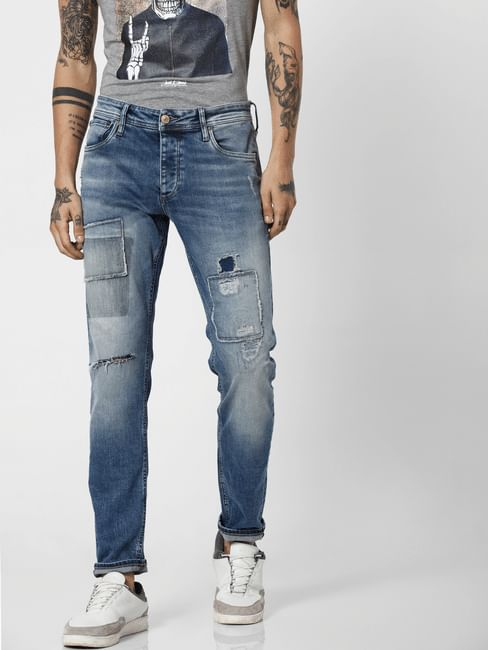 Blue Low Rise Patch Work Tim Slim Jeans