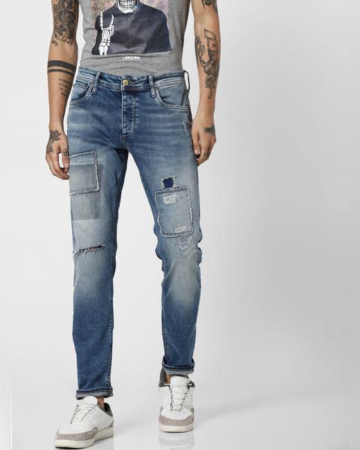 Blue Low Rise Patch Work Tim Slim Jeans