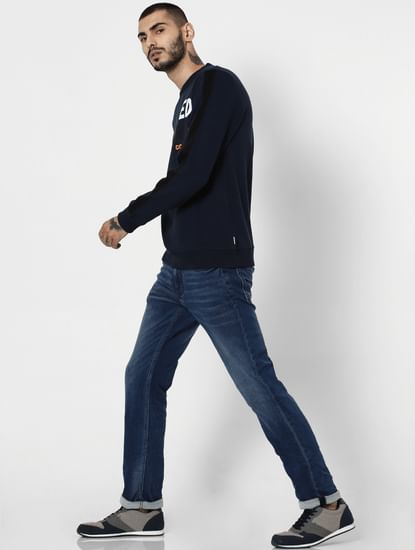 Dark Blue Low Rise Clark Regular Fit Jeans
